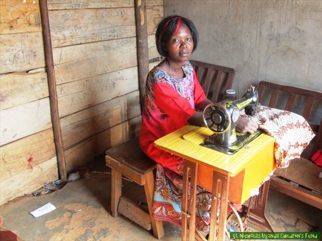 Assistance with a sewing machine made Alice's household self-sufficient.