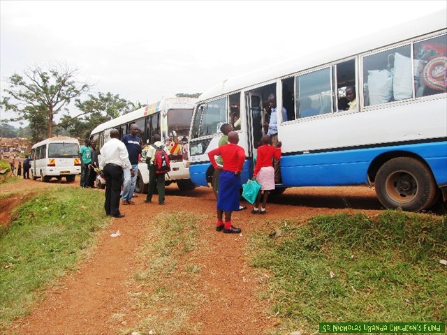 Buses ready to leave for boarding school